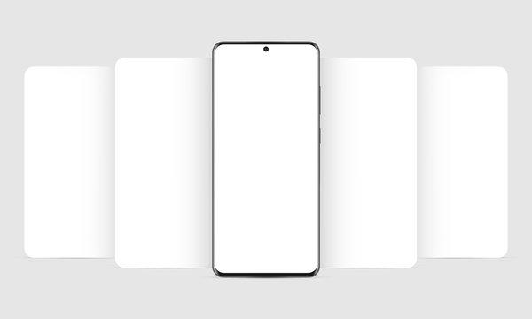 Modern mobile phone mockup with blank app screens. Web design concept for responsive showcase presentation. Vector illustration