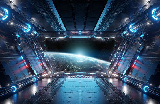 Blue and red futuristic spaceship interior with window view on planet Earth 3d rendering