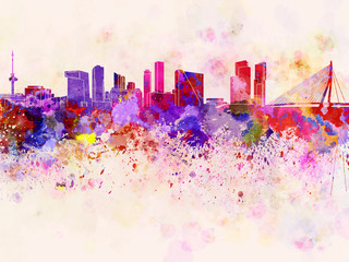 Wall Mural - Rotterdam skyline in watercolor background