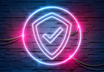 Web security neon icon illuminating a brick wall with blue and pink glowing light 3D rendering Wall mural