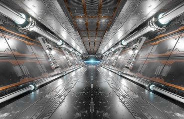Wall Mural - White and silver futuristic spaceship interior with window view on planet Earth 3d rendering