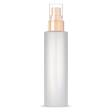 Cosmetic spray mockup. Aerosol container isolated on white background. Realistic pump package blank with shiny cap for perfume product. Glass bottle blank for merchandise presentation