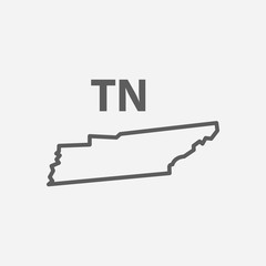 Tennessee icon line symbol. Isolated vector illustration of icon sign concept for your web site mobile app logo UI design.