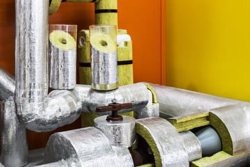 Obraz mineral wool cylinders for insulation of pipelines for cooling ventilation and air conditioning systems - fototapety do salonu