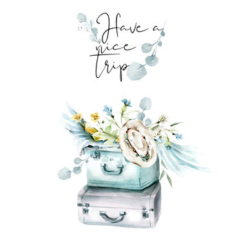 Hand drawing watercolor set for travel to Italy - suitcase with summer flowers and leaves and hat. illustration isolated on white