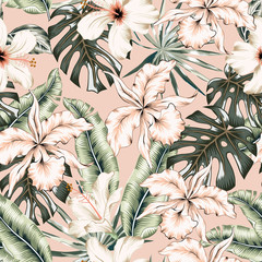 Tropical orchid flowers, monstera, banana palm leaves, blush pink background. Vector seamless pattern. Jungle foliage illustration. Exotic plants. Summer beach floral design. Paradise nature