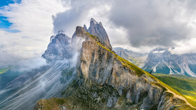 Amazing landscape of  the Dolomites Alps.  Location: Odle mountain range, Seceda peak in Dolomites Alps, South Tyrol, Italy, Europe. Artistic picture. Beauty world. Panorama