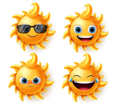Sun character vector set. Sun cute summer characters in different expressions like angry, laughing and smiling in 3d realistic design isolated in white background. Vector illustrator.