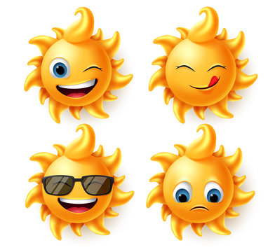 Sun summer character vector set. Sun cute characters in 3d realistic design with different expression like hungry, laughing, naughty and sad faces isolated in white background. Vector illustration.