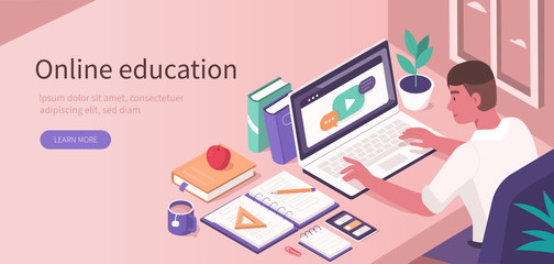 Obraz Student Learning Online at Home. Character Sitting at Desk, Looking at Laptop and Studying with  Smartphone, Books and Exercise Books. Online Education Concept. Flat Isometric Vector  Illustration. - fototapety do salonu