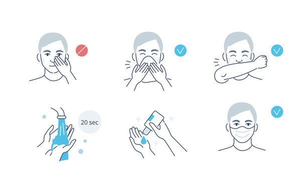 Infographic Steps How Prevent Respiratory Diseases. Correct Couching and Sneezing, Cleaning Hands with Antiseptic Gel, Wearing Mask. Virus and Infection prevention. Flat Cartoon Vector Illustration.