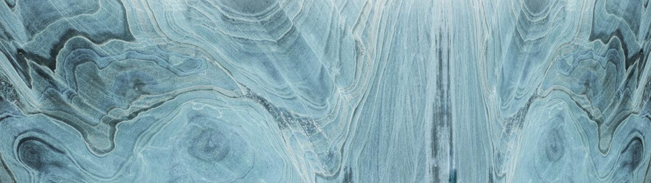 Turquoise aquamarine white abstract marble granite natural stone texture background banner panorama