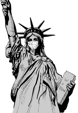 Statue of Liberty resists coronavirus by wearing a face mask. Vector image.