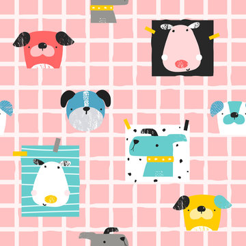Seamless pattern with funny dogs. Childish trendy print. Vector hand drawn illustration.