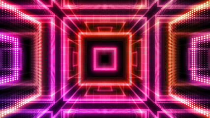Disco club space illumination neon light room floor wall 3D illustration abstract background