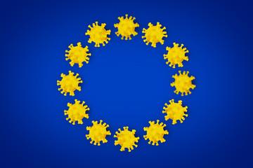 Corona Virus symbol blue yellow european union EU flag europe background. Cornavirus COVID-19 global  outbreak pandemic epidemic medical concept. Fototapete