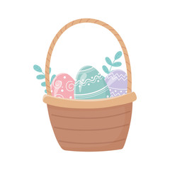 happy easter basket with eggs foliage decoration