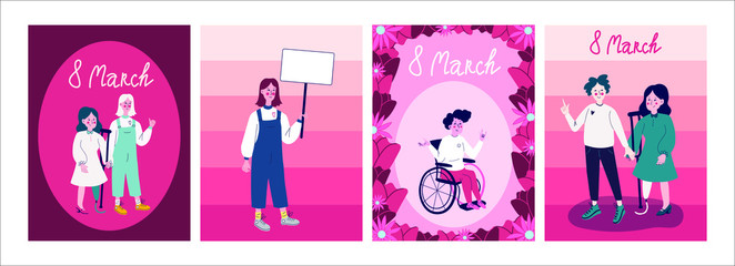 International women's day postcards set with diverse women. 8 March pink flowers, girl on a wheelchair or with prosthetic leg. With protest posters for sign. Disabled human.Isolated stock vector image