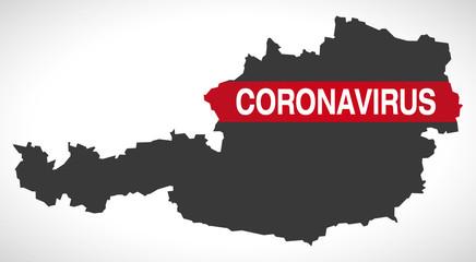 Austria map with Coronavirus warning illustration Fototapete