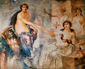 fresco of the nymph saved by Hermes in the temple of Isis in Pompeii.  Pompeii destroyed by the eruption of Vesuvius in 79 BC