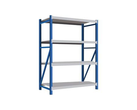 Vector illustration of an blue metal shelving on a white background.