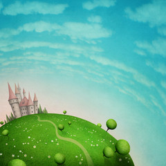 Green texture background with planet Earth and garden and road to the castle
