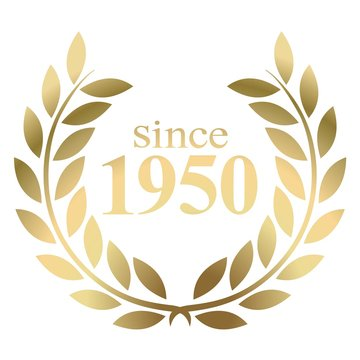 Since year 1950  gold laurel wreath vector isolated on a white background