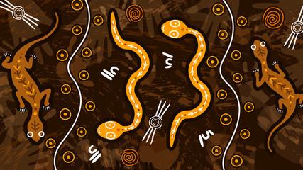 Animal aboriginal art dot vector painting