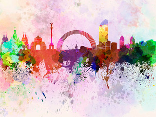 Wall Mural - Kiev skyline in watercolor background