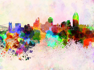 Wall Mural - Cincinnati skyline in watercolor background
