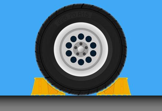 Wheel chock car parking brake loading dock equipment safety device truck prevent movement