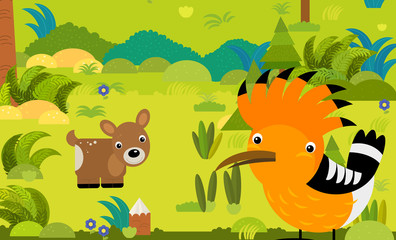 cartoon scene with different european animals in the forest illustration