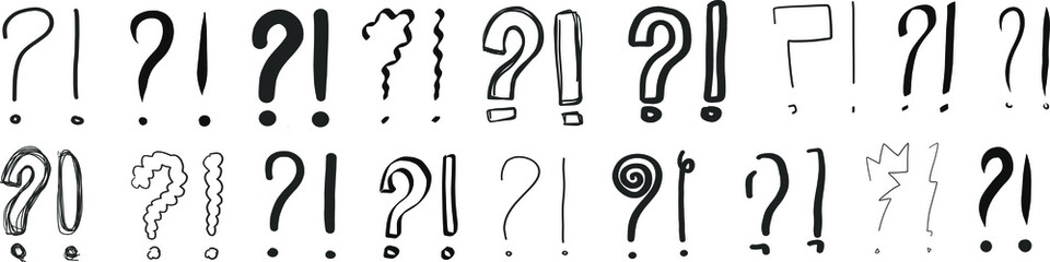 question marks exclamation point exclamation mark interrogation points hand drawn signs q and a symbol vector drawings scribbles question and answer sketches illustration doodles