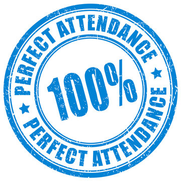 100 percent perfect attendance stamp