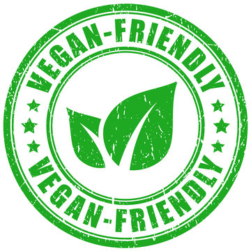 Vegan friendly product vector stamp