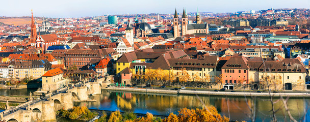 Germany travel and landmarks - panorama of Wurzburg medieval town in Bavaria