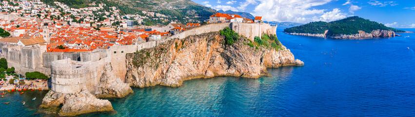 landmarks and travel in Croatia - panoramic view of beautiful ancient Dubrovnik town