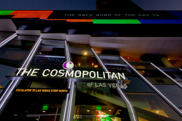 Las Vegas, Nevada, USA - Illuminated exterior of the Cosmopolitan Hotel And Casino on the Las Vegas Strip.