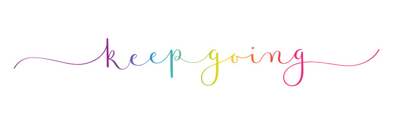 KEEP GOING vector rainbow-colored brush calligraphy banner with swashes