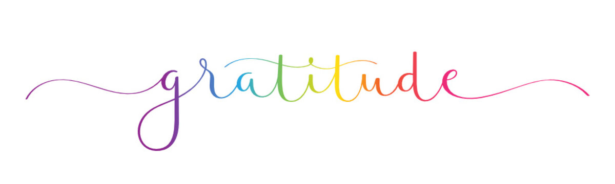 GRATITUDE vector rainbow-colored brush calligraphy banner with swashes
