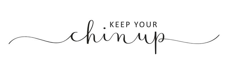 KEEP YOUR CHIN UP vector black brush calligraphy banner with swashes