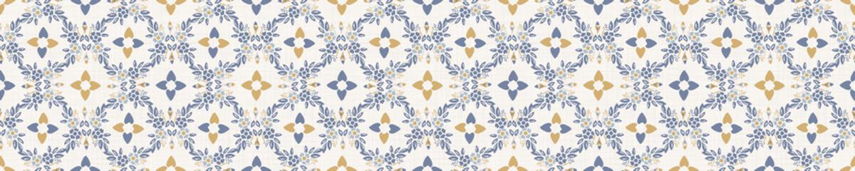 Seamless ornate medallion border pattern in french cream linen shabby chic style. Hand drawn floral damask bordure. Old white blue background.  Interior home decor edging. Ornate flourish ribbon trim
