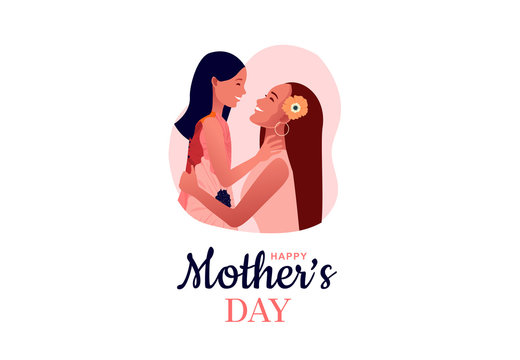 Happy mother's day. Mom hugs her daughter. Mother holds child.