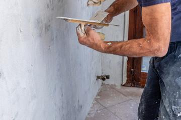 muratore con frattoio Wall mural