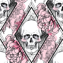 Human skull with peony, rose and poppy flowers over sacred geometry background. Seamless pattern. Tattoo design element. Vector illustration for wallpaper, textile print, wrapping paper.