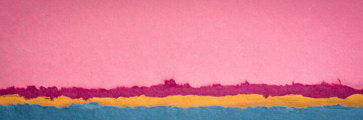 Spoed Fotobehang Candy roze pink sunrise abstract landscape created with handmade Indian paper