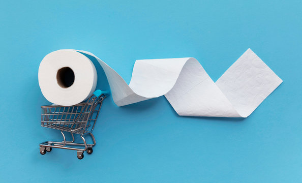 Roll of white toilet paper with a shopping cart on a blue background