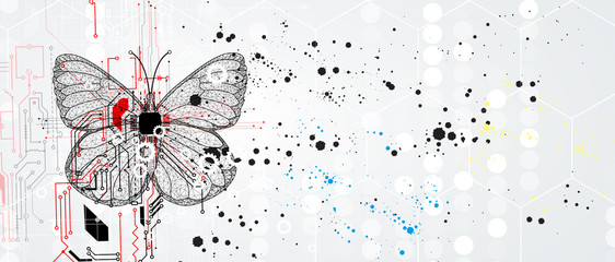 Wall Mural - Butterfly concept technology illustration of artificial intelligence