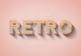 Retro 3D Text Effect Mockup with Orange and Green Stripes