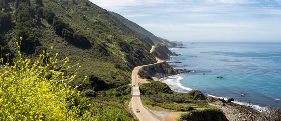 Panorama of Highway 1 near Big Sur, California